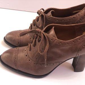 Halogen  Booties Leather Brown Heels Size 8M